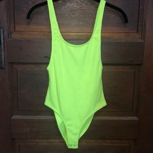 Forever 21 Neon Yellow-Green Ribbed Tank Bodysuit